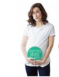 Gravidez Camiseta Casual Simples Primavera Verão,Sólido Branco Preto Algodão Decote Redondo Manga Curta Média