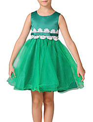 Girl's Wedding Party Pageant Birthday Dress Scalloped Crochet Lace Overlay Dress