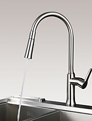 Traditional Countertop Pullout Spray with  Ceramic Valve Single Handle One Hole for  Nickel Brushed , Kitchen faucet