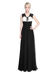 Lanting Bride® Hasta el Suelo Raso Encaje Colores en Bloque Vestido de Dama de Honor - Funda / Columna Tirantes conApliques Cuentas Cinta
