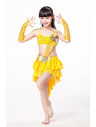 Belly Dance Dresses Children's Performance Chiffon Cascading Ruffle Flower(s) 3 Pieces Sleeveless Dropped Dress Gloves