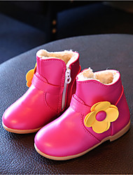 Kids' Girls' Baby Boots Comfort Leatherette Fall Winter Casual Comfort Flat Heel White Fuchsia Blushing Pink Flat