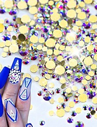 1400pcs Crystal Glitter AB Gold Nail Art Decorations New DIY Glass Flatback Rhinestones for Nails Phone Clothe Decor NJ246