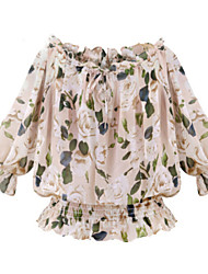Tee-shirt Femme,Imprimé Décontracté / Quotidien simple Printemps Manches ¾ Epaules Dénudées Rose Fin