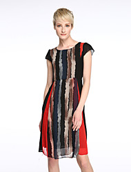 Women's Street chic Striped Plus Size / Swing Dress,Round Neck Knee-length Polyester