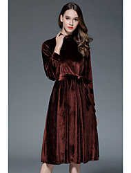 Women's Casual/Daily Vintage / Simple / Cute A-line Tunic Dress Solid Round Neck Midi-length Long Sleeve Bow Velvet Dresses