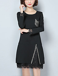 Women's Plus Size /Casual/Daily Street chic Loose Dress Lace Patchwork Round Neck Above Knee Long Sleeve Black Polyester Spring /Fall