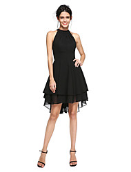 2017 TS Couture® Cocktail Party Dress - Little Black Dress A-line High Neck Asymmetrical Chiffon with Pleats