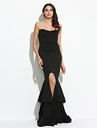 Women's Ruffle|Asymmetrical|Backless Party Sexy Trumpet/Mermaid Dress,Solid Strapless Maxi Sleeveless Blue / Red / Black