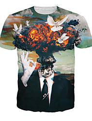 Fête / Célébration Déguisement Halloween Noir Imprimé Haut Tee-shirt Masculin Coton
