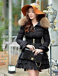 DABUWAWA Women's Long Down CoatVintage / Street chic / Sophisticated Going out / Casual/Daily / Holiday Solid-Polyester / Raccoon Fur