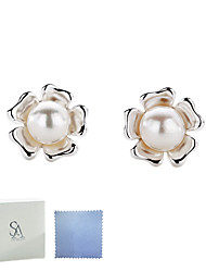 SILVERAGE Sterling Silver Freshwater Pearl Flower Stud Earrings