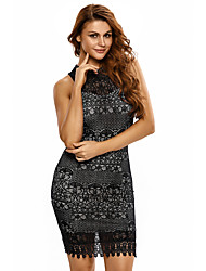 Women's Black Lace Crochet Trim Open Back Club Dress
