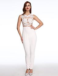 Women's Backless  Mesh Lace Applique Jumpsuit