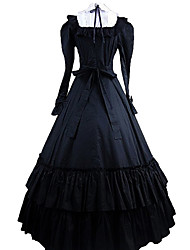 One-Piece/Dress Gothic Lolita Victorian Cosplay Lolita Dress Solid Long Sleeve Ankle-length Dress For Cotton