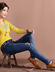 2016 autumn new hand-embroidered jeans female feet was thin trousers autumn Ms. pencil pants
