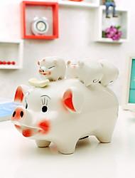1 PC Fashionable Home Small Place Birthday Present Creative Decorations Arts and Crafts Auspicious Sambo Ceramic Pig Piggy Bank