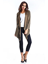 Women's Casual/Daily Simple Trench Coat,Solid Asymmetrical Long Sleeve Spring / Fall Multi-color Rayon Medium