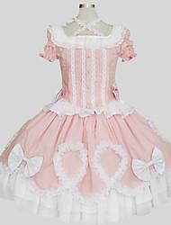 Austattungen Niedlich Prinzessin Cosplay Lolita Kleider Rosa einfarbig Kurzarm Wadenlänge Top Rock Für Damen Baumwolle