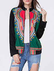 Women's Going out Casual/Daily Vintage Boho JacketsPrint National Style Round Neck Long Sleeve Spring Fall Medium