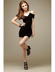 Women's Casual/Daily Sexy Bodycon / Sheath Dress,Solid V Neck Mini Sleeveless Black Modal Summer Low Rise Micro-elastic Medium