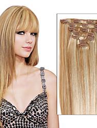 longo brasileira virgem reta tecelagem 7 peça ou cabeça cheia 8 pedaço clips em mulheres senhoras meninas grampo em extensões de cabelo de