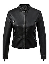 Women's Going out / Casual/Daily Simple / Street chic Leather Jackets,Embroidered Crew Neck Long Sleeve Fall / Winter Black PU Medium
