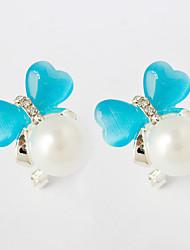 Strass Boucles d'oreille goujon Bijoux Femme Mariage Soirée Décontracté Imitation de perle Strass 1 paire Bleu Ciel