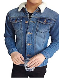 Men's Casual/Daily Simple Denim Jackets,Solid Shirt Collar Long Sleeve All Seasons Blue Others Medium / Thick