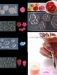 Стиль 4 акриловые цветы 3d Nail Art форма DIY украшения мода