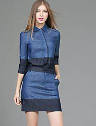 Set Jupe Costumes Femme,Couleur Pleine Décontracté / Quotidien Chic de Rue Automne Manches ¾ Col de Chemise Bleu Coton Polyester Moyen