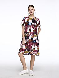 Robe Aux femmes Ample / Courte simple / Chic de Rue,Imprimé Col Arrondi Midi Coton / Lin
