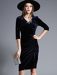 Egeer Women's Formal / Party/Cocktail Sexy Bodycon DressFloral V Neck Knee-length  Length Sleeve Blue Polyester Fall Mid Rise Micro-elastic
