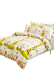 Mingjie 100% Cotton Yellow Animals Bedding Sets 4PCS for Twin Full QueenSize from China Contian 1 Duvet Cover 1 Flatsheet 2 Pillowcases
