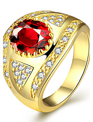 Gold Plated High Rate Classic Round Eye Shaped Inlaid Cubic Zirconia & Ruby Rings Fashion Jewelry for Women US Size 7 8