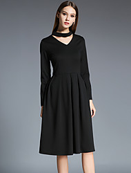 Women's Go out Casual Party Cocktail Simple Street chic A Line Dress Solid Color V Neck  Long Sleeve Prom Dress