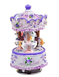 Caixa de música Castelo no céu Clássico e Intemporal Madeira Azul / Roxa / Ivory Para Meninos / Para Meninas