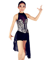 Latin Dance Dresses Women's / Children's Performance Spandex / PolyesterPaillettes / Flower(s) / Pleated / Sequins / Splicing / Color