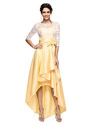 2017 lanting bride® asymétrique en dentelle / taffetas dos ouvert robe de demoiselle d'honneur - une ligne bijou avec un arc (s)