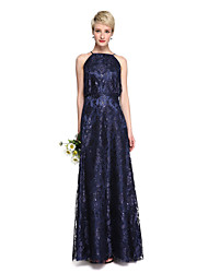 2017 Lanting Bride® Floor-length Lace Sparkle & Shine Bridesmaid Dress - A-line Spaghetti Straps with Lace