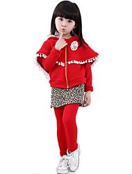 Girl Wild Popular Leopard Clothing Sets Long Sleeve Cloak Hoodie & Fleece Lining Skirt Pants / Culottes