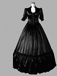 One-Piece/Dress Classic/Traditional Lolita Lolita Cosplay Lolita Dress Black Solid Half-Sleeve Floor-length Dress For Women Satin