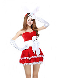 Cosplay Costumes Santa Suits / Cosplay / Bunny Girls Movie Cosplay Red / Black / Pink Solid Dress / HeadwearHalloween / Christmas /