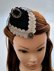 Women's Lace Rhinestone Fabric Net Headpiece-Wedding Special Occasion Fascinators Hats Hair Clip 1 Piece