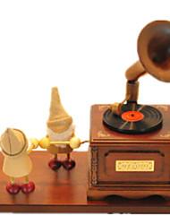 Caixa de música Castelo no céu Criativo Madeira Marrom Para Meninos Para Meninas