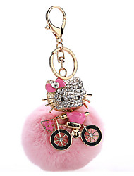 Key Chain Sphere Cat Pink Metal Plush
