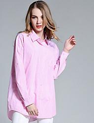 Feminino Camisa Social Para Noite Casual Férias Simples Fofo Primavera Verão,Listrado Azul Rosa Branco Algodão Colarinho de CamisaManga