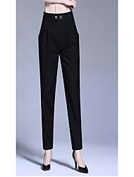 Women's Loose Chinos Pants,Casual/Daily Simple Solid Mid Rise Button Polyester Inelastic Fall Winter