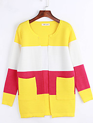 Women's Going out / Casual/Daily Street chic Regular Cardigan,Color Block Blue / Pink / Black / Green / Yellow
