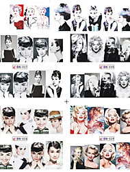 Tracy Simple Nail 12 Sheets Water Transfer Tattoo Full Tips Nail Art Beauty Sexy Lady Women Sticker Nail Decals New